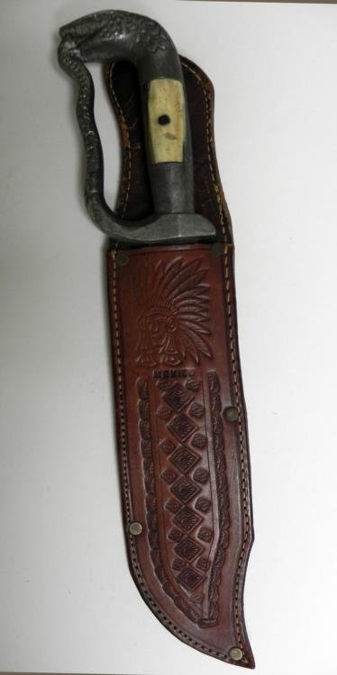 VINTAGE MEXICAN BOWIE KNIFE-DOUBLE ETCHED W/SCABBARD - 8