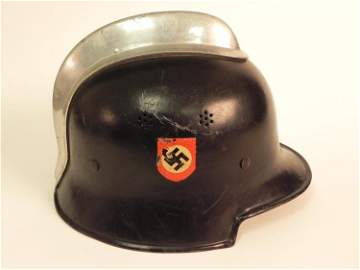 NAZI DOUBLE DECAL ORIG. FIREMAN HELMET-NEAR MINT-MARKED