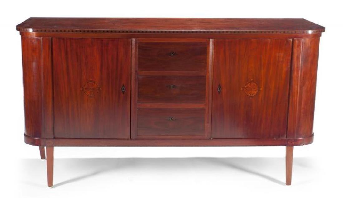 MEAT LOAF INLAID MAHOGANY NEOCLASSICAL STYLE SIDEBOARD