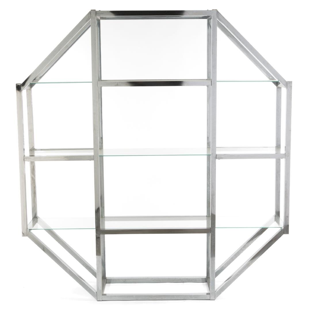 OCTAGONAL CHROME AND GLASS DISPLAY STAND