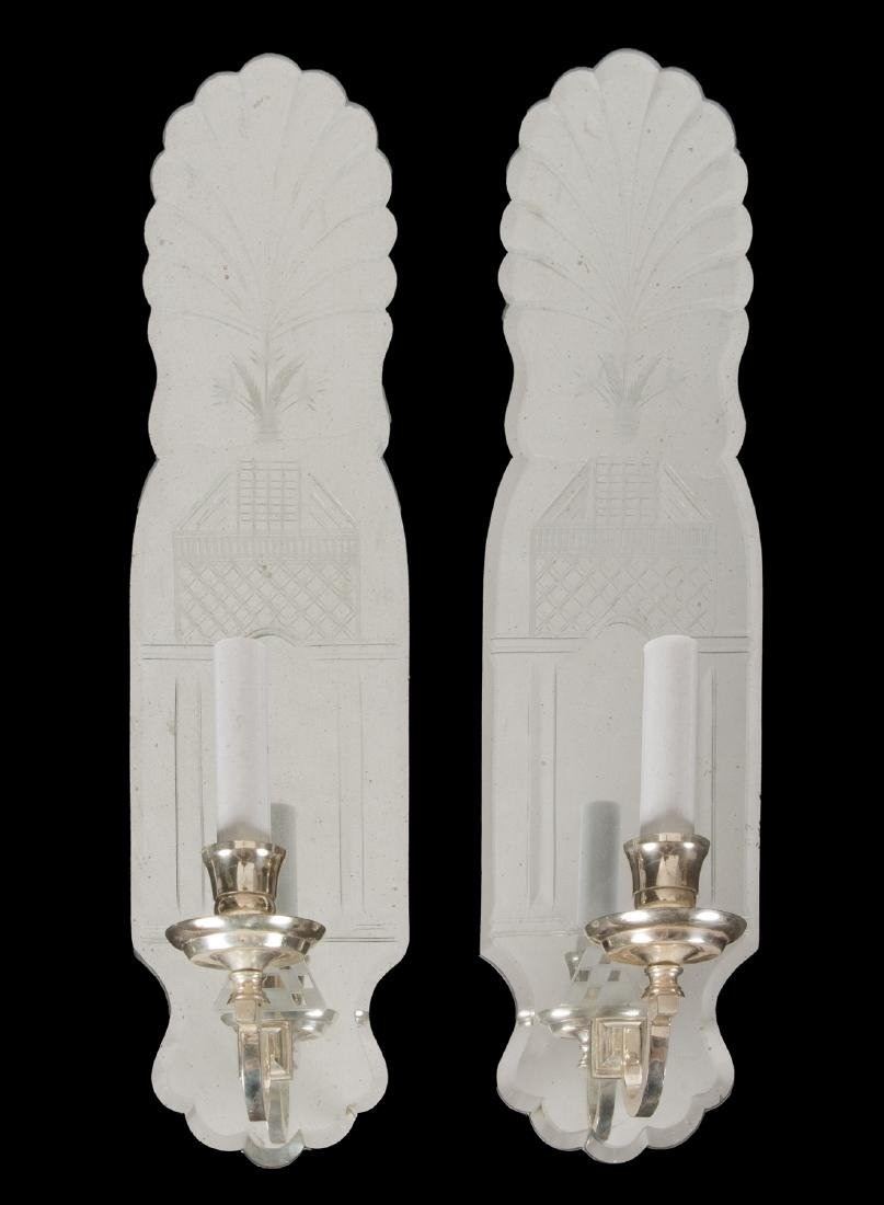 PAIR OF ETCHED MIRROR SCONCES