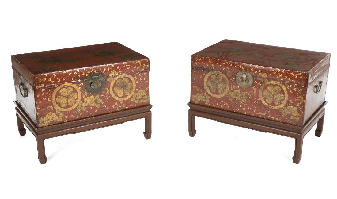 PAIR OF ASIAN LACQUER CHESTS ON STANDS