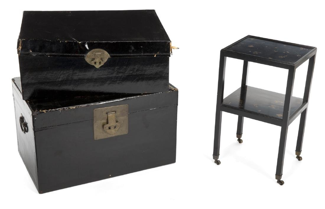 TWO BLACK ASIAN STYLE CHESTS AND A SIDE TABLE