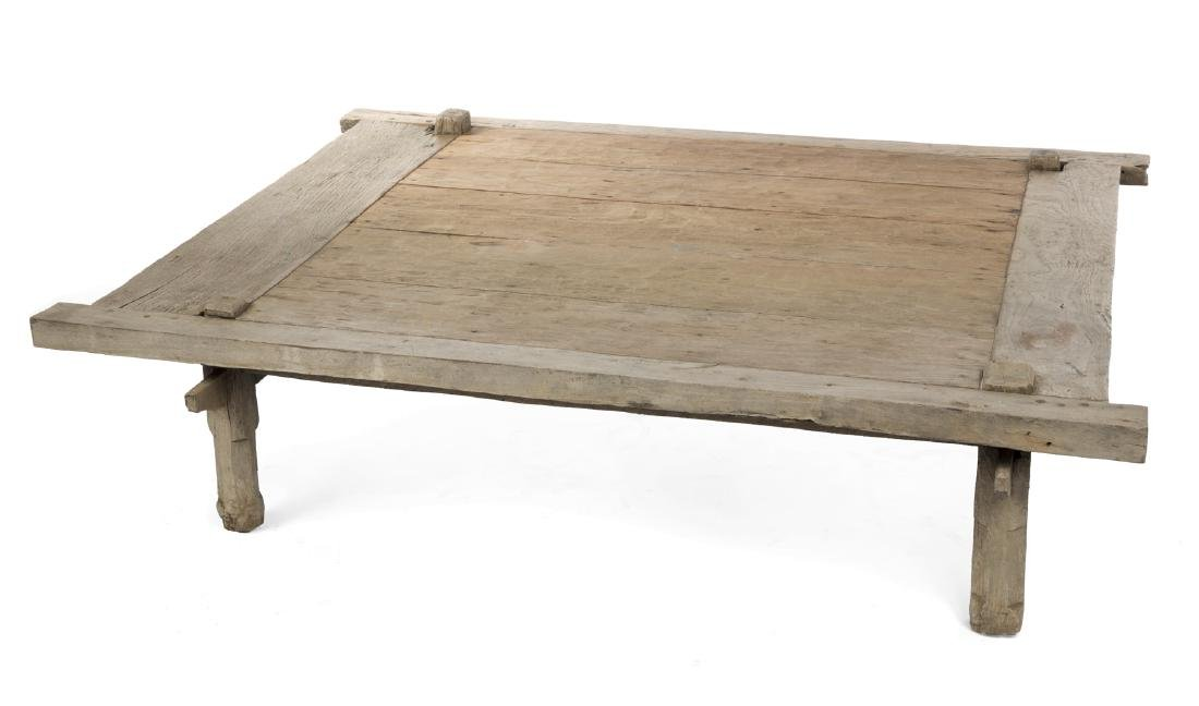 RUSTIC CARVED WOOD COFFEE TABLE