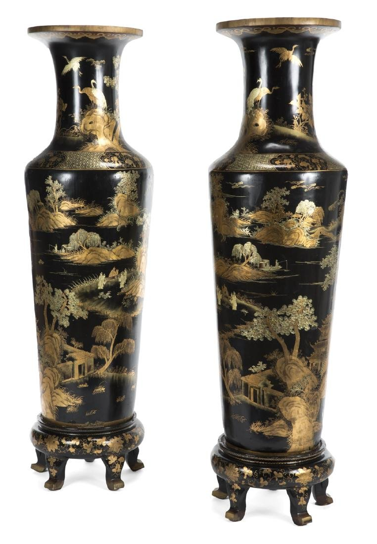 PAIR OF CHINESE VASES ON STANDS