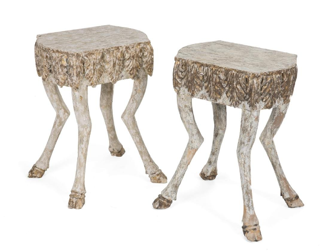 PAIR OF VINTAGE HOOF FOOT SIDE TABLES