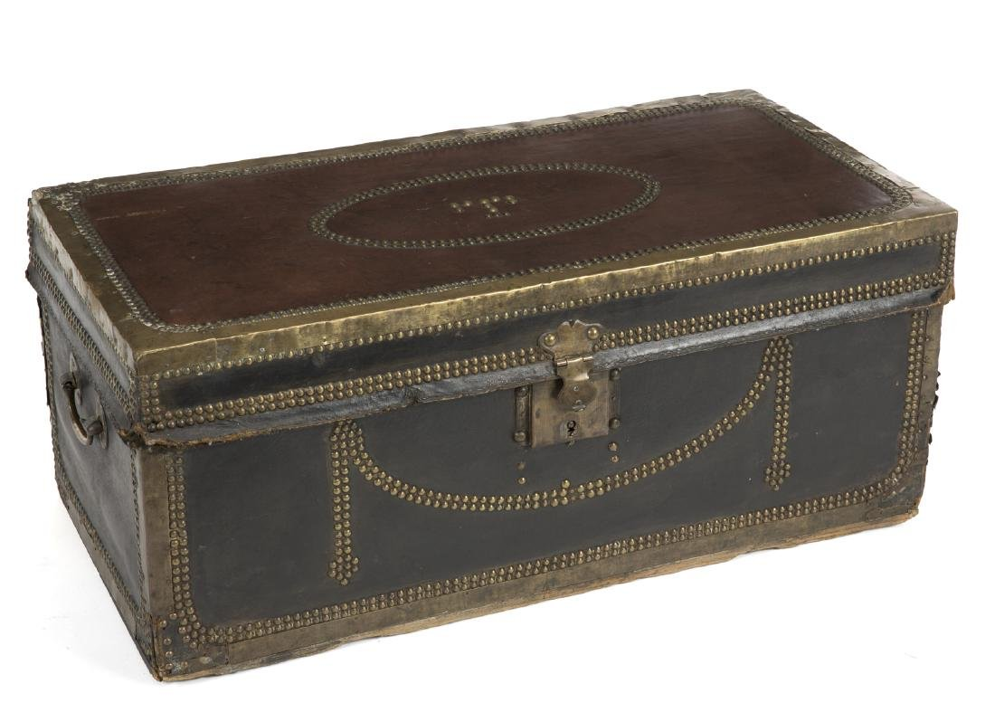 ANTIQUE BRASS BOUND TRUNK