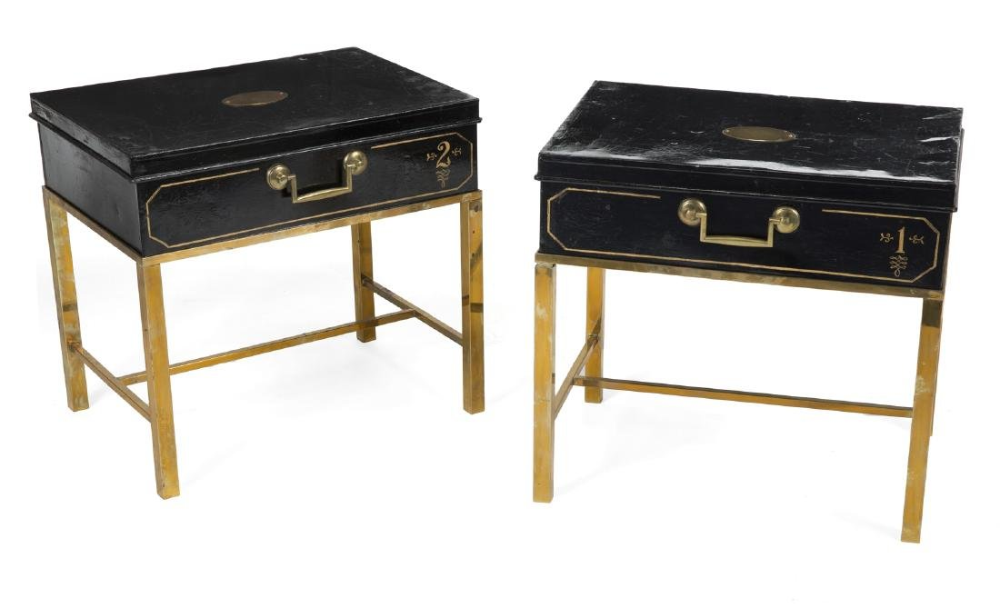 PAIR OF TOLE AND BRASS BOXES ON STANDS