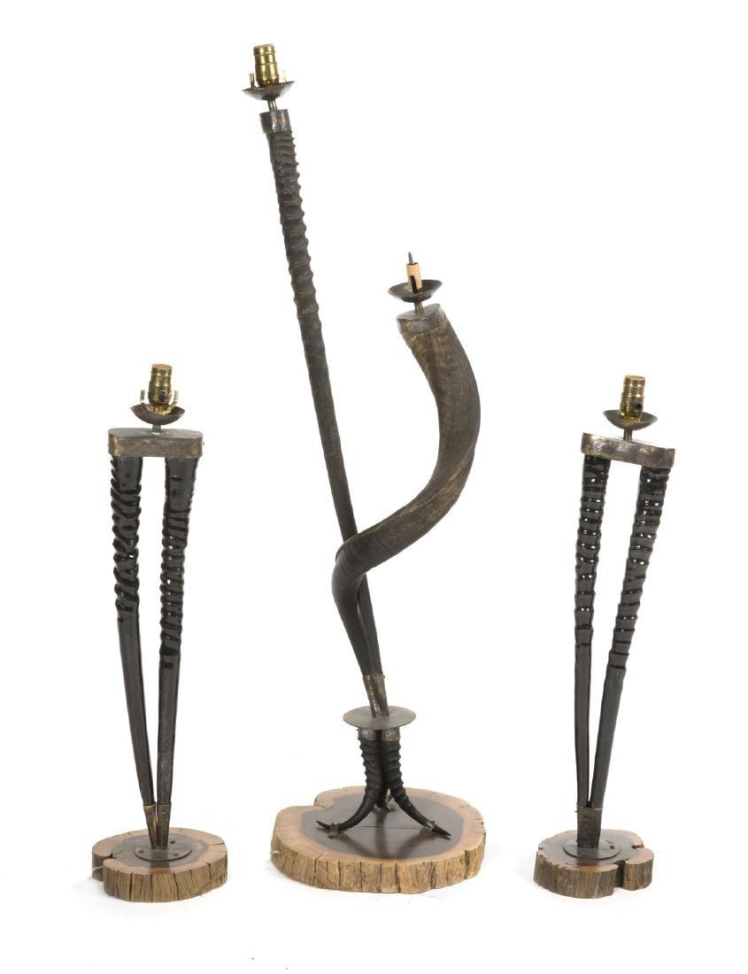 THREE  MODERN ALPINE STYLE LAMPS