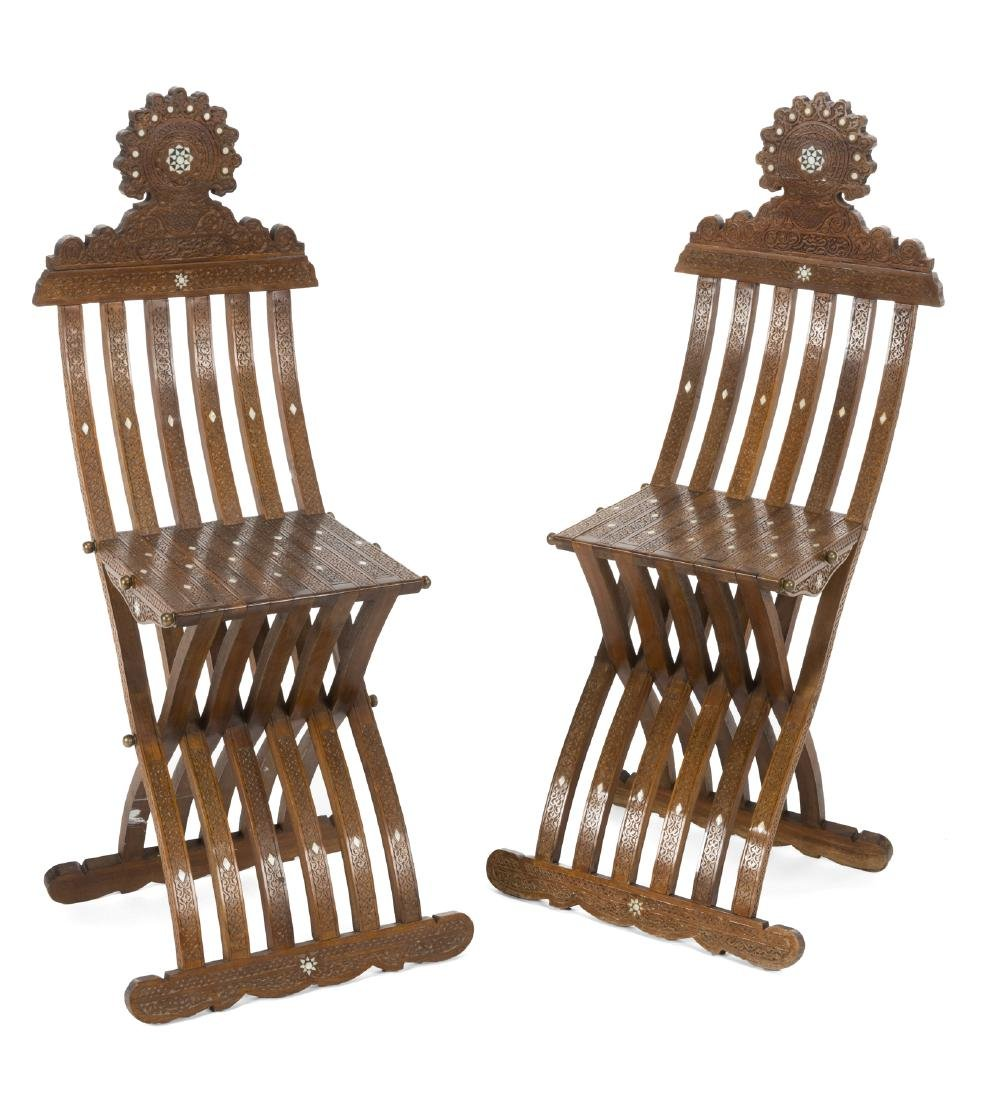 PAIR OF MOROCCAN FOLDING CHAIRS