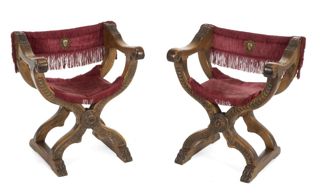 PAIR OF 19TH CENTURY SAVONAROLA CHAIRS