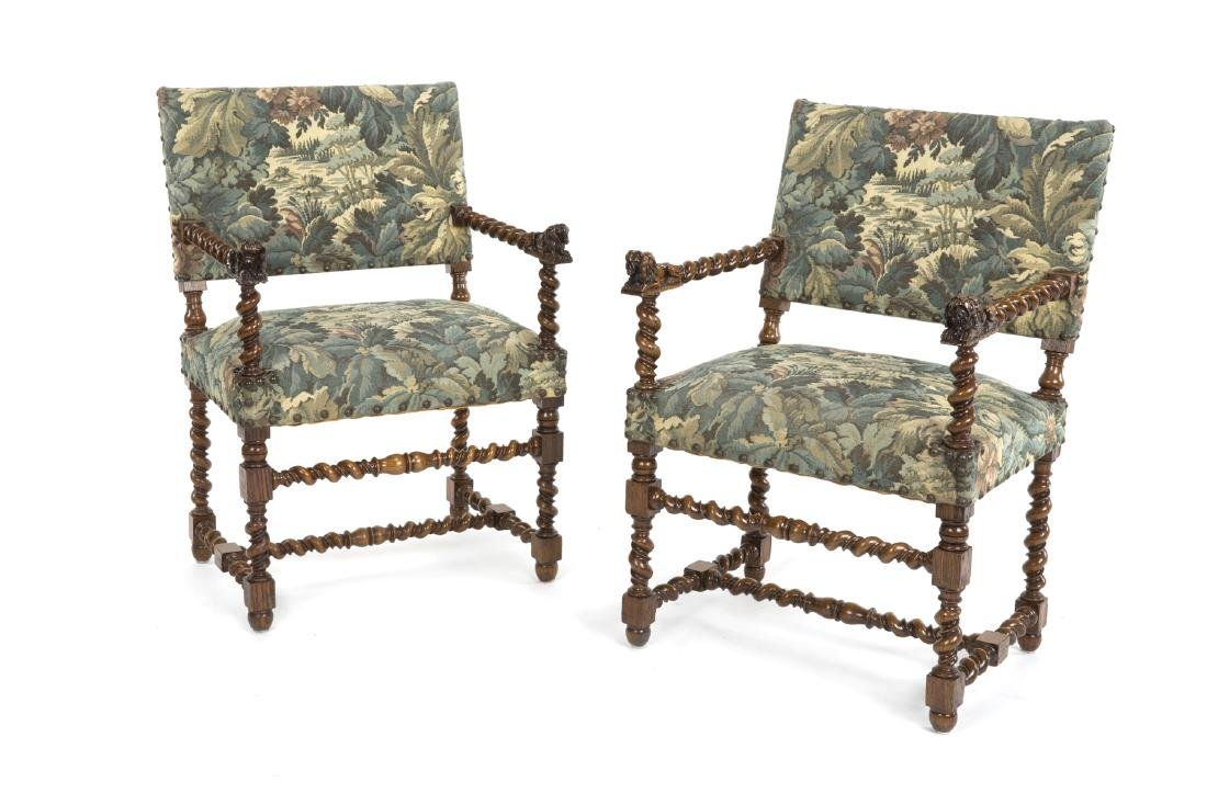 PAIR OF JACOBEAN STYLE HALL CHAIRS