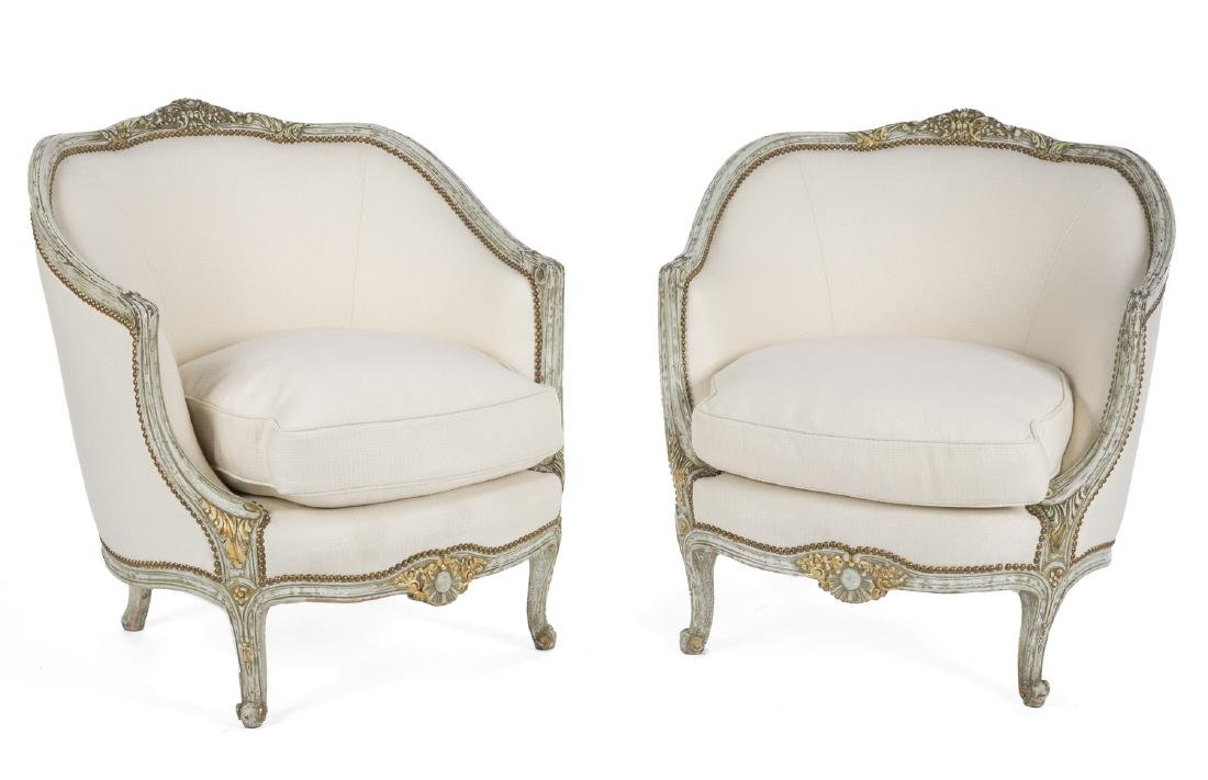 PAIR OF ROCOCO STYLE TUB CHAIRS