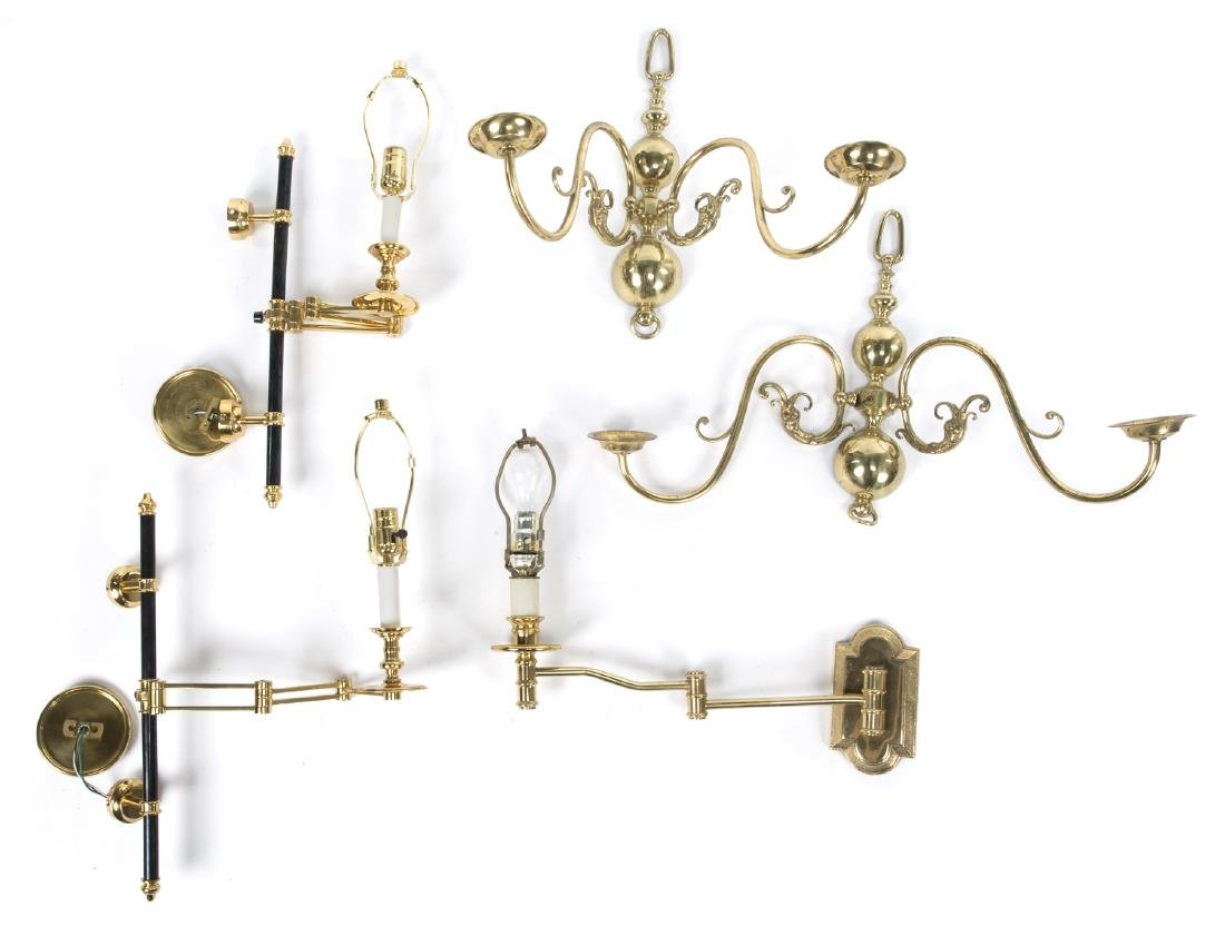 GROUP OF BRASS WALL SCONCES