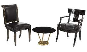 GROUP OF BLACK AND GOLD FURNISHINGS