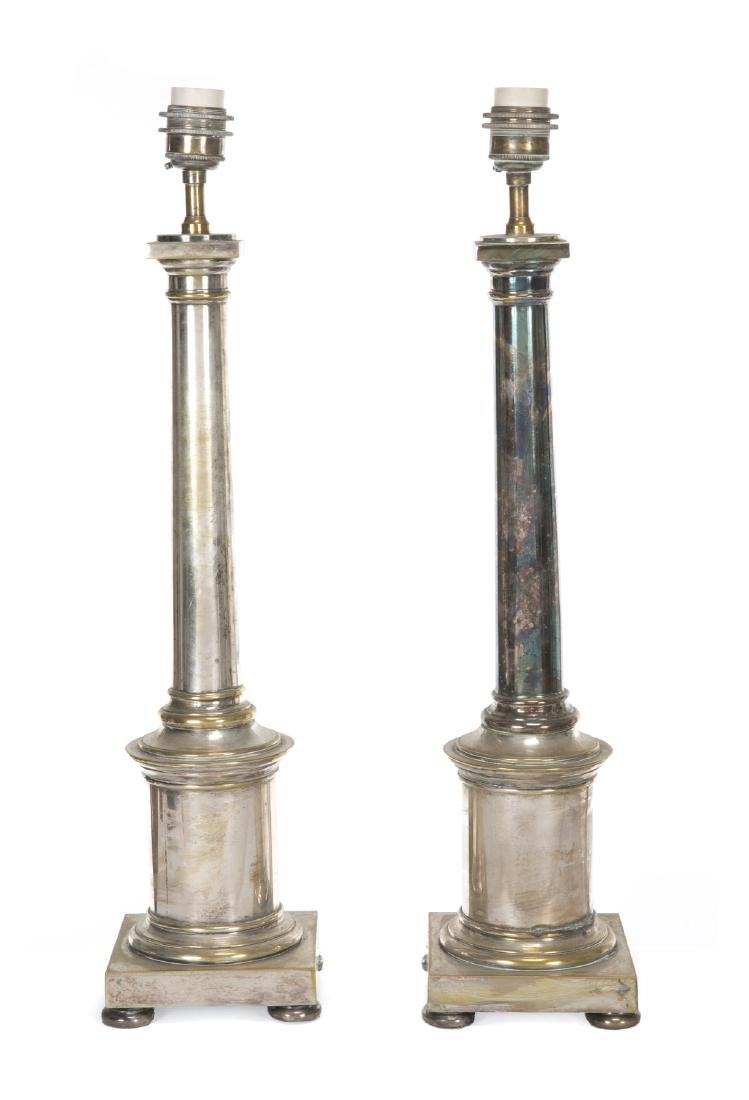 PAIR OF MODERN SILVER PLATED TABLE LAMPS