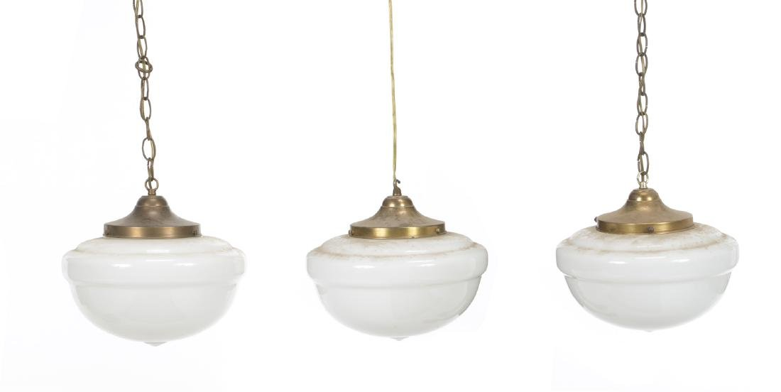 GROUP OF THREE VINTAGE HANGING LIGHT FIXTURES