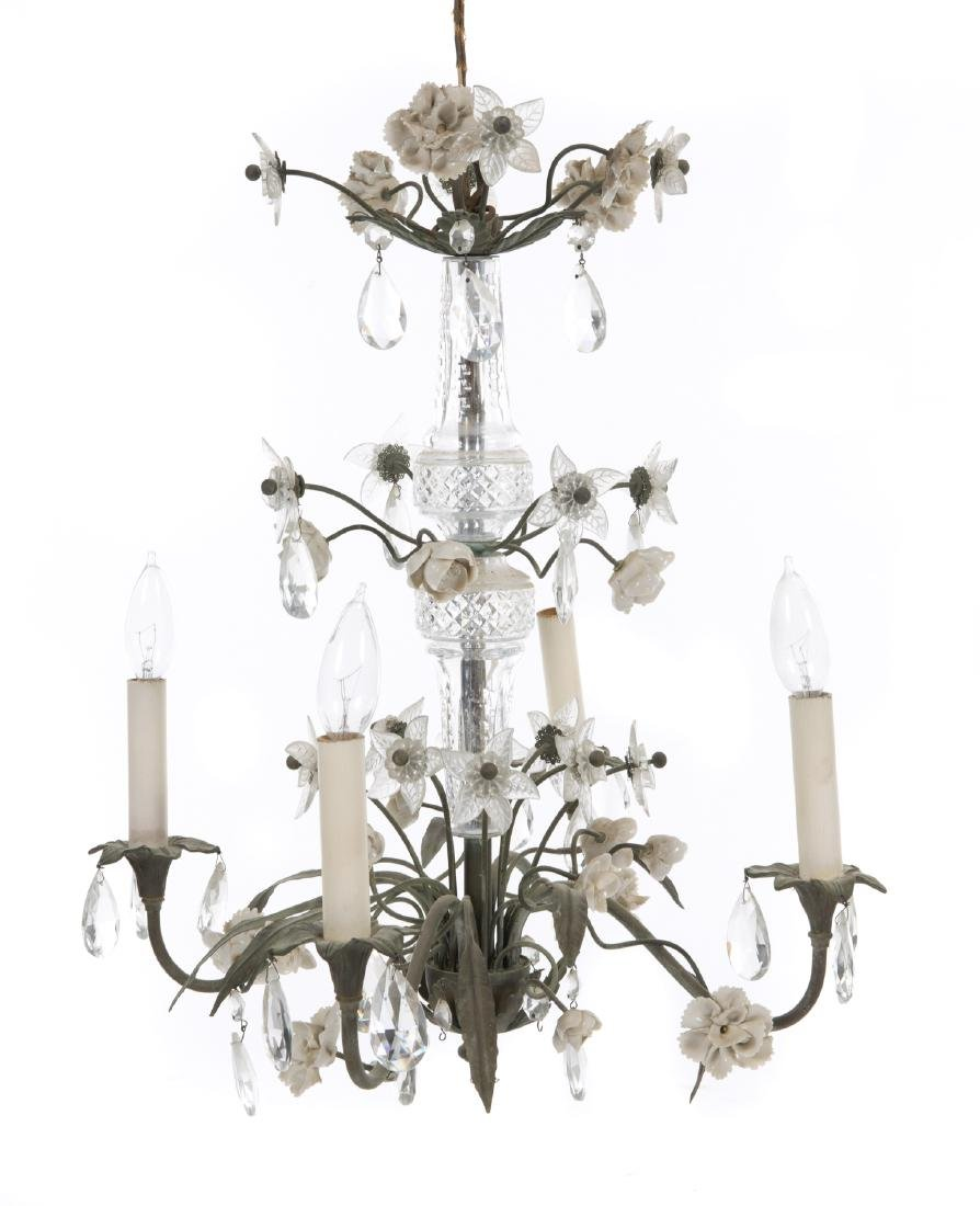 VINTAGE PAINTED TOLE CHANDELIER AND SCONCE