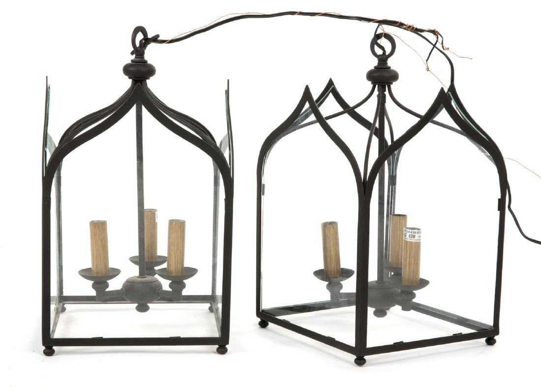 PAIR OF IRON AND GLASS LANTERN FIXTURES