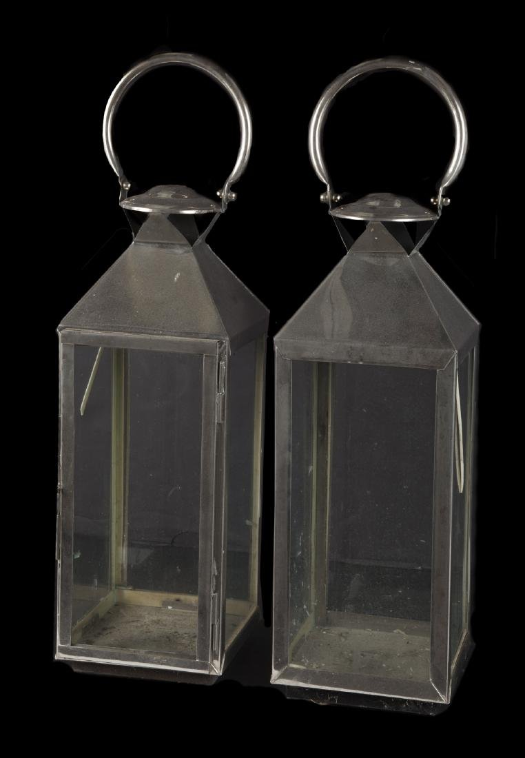 PAIR OF CHROME LANTERNS