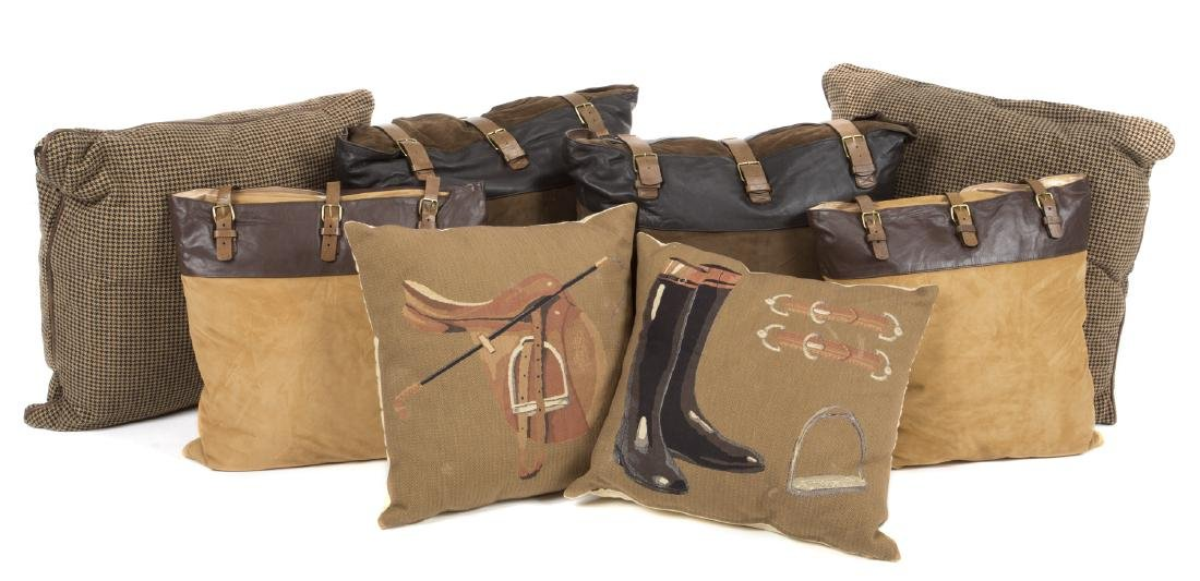 GROUP OF EQUESTRIAN THEMED PILLOWS