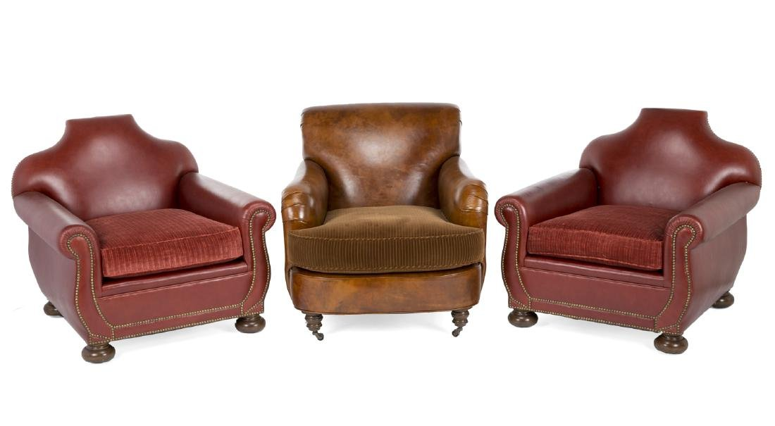 FIVE LEATHER CLUB CHAIRS