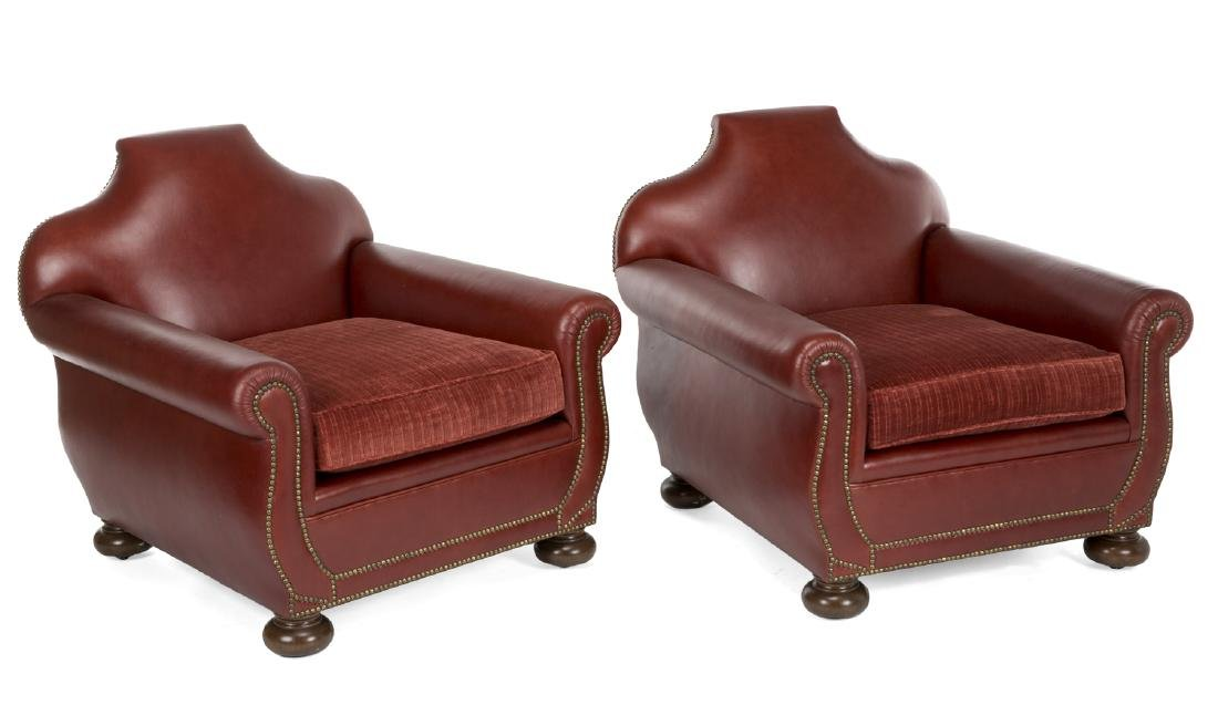 FIVE LEATHER CLUB CHAIRS - 2