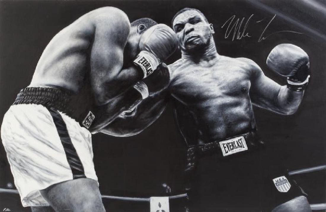 MIKE TYSON SIGNED IN-ACTION ORIGINAL OIL PAINTING