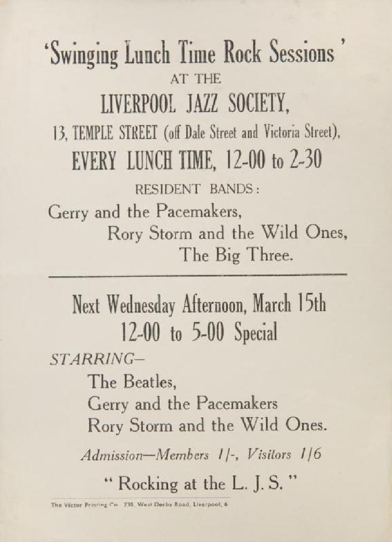 THE BEATLES 1961 LIVERPOOL JAZZ SOCIETY HANDBILL