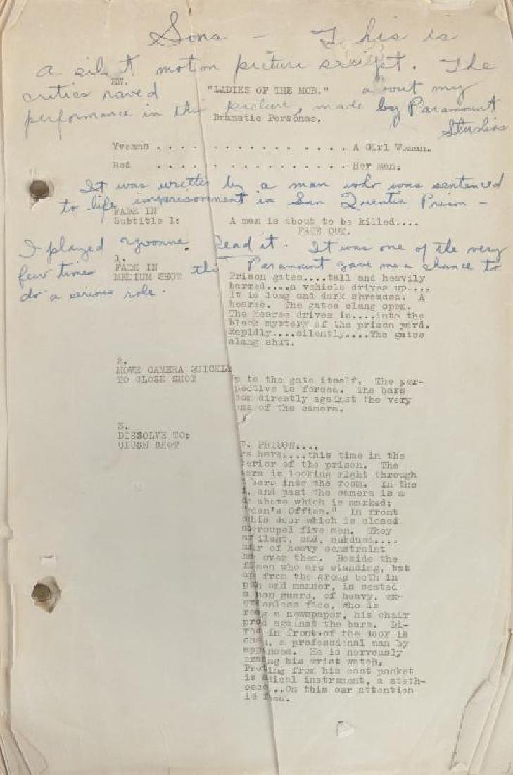 CLARA BOW SCRIPT FOR LADIES OF THE MOB