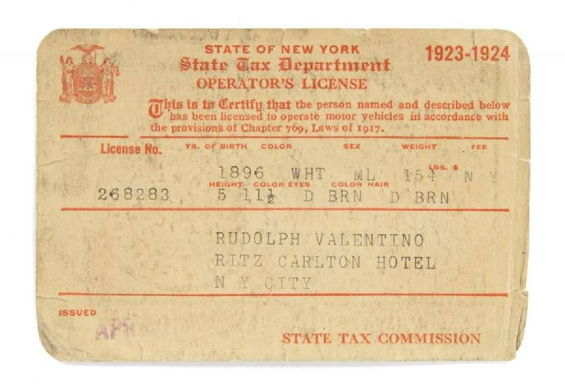 RUDOLPH VALENTINO SIGNED 1923 DRIVER'S LICENSE
