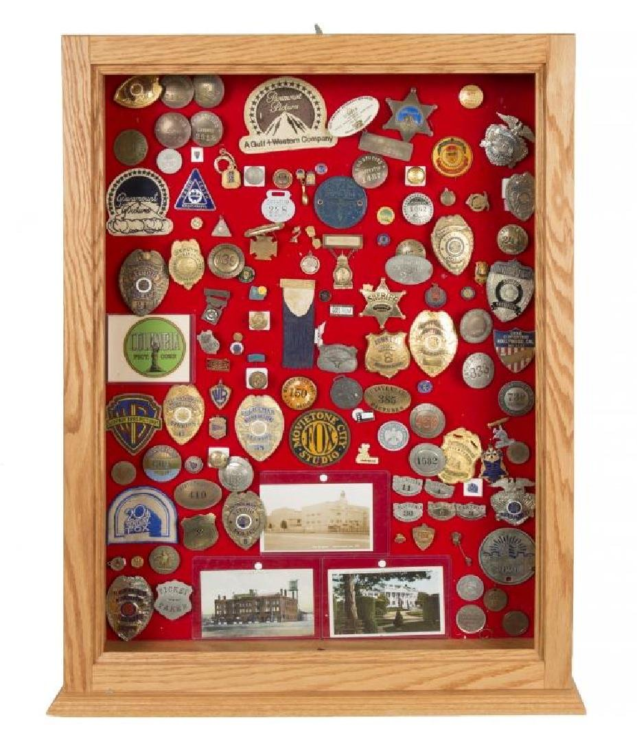 COLLECTION OF HISTORIC HOLLYWOOD BADGES AND PINS