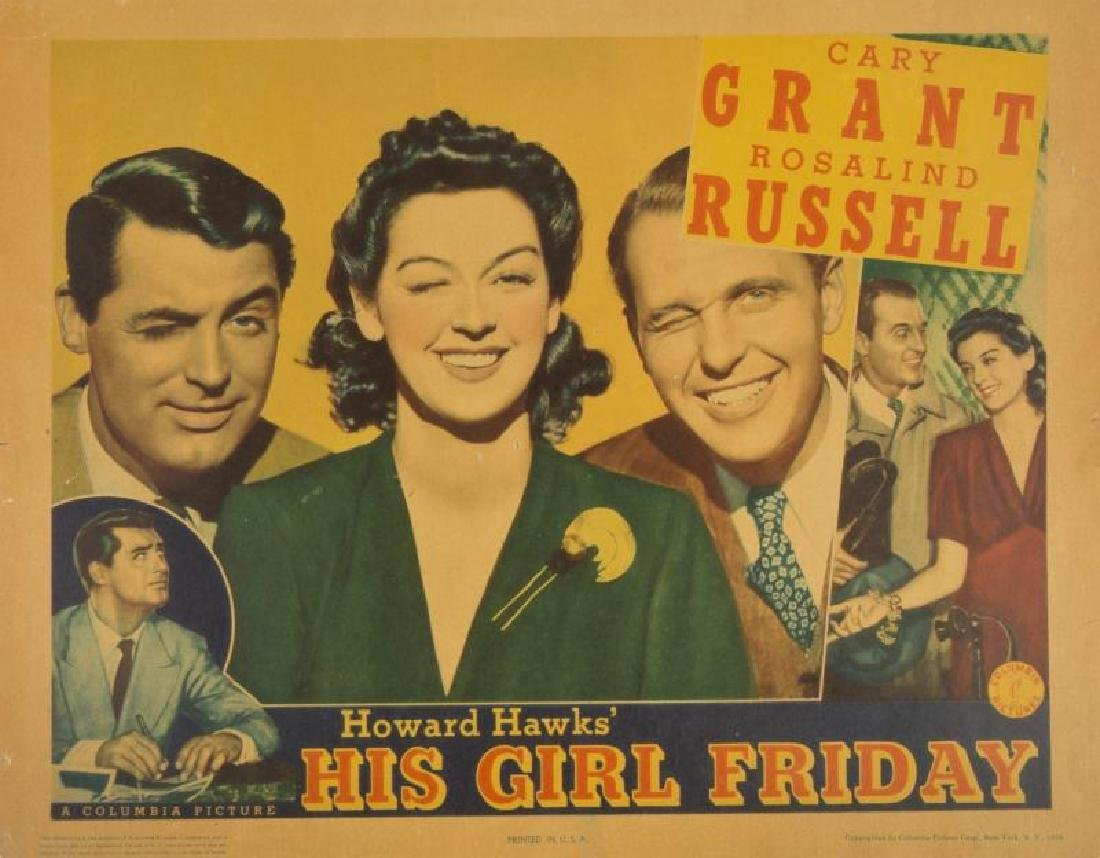CARY GRANT HIS GIRL FRIDAY LOBBY CARDS