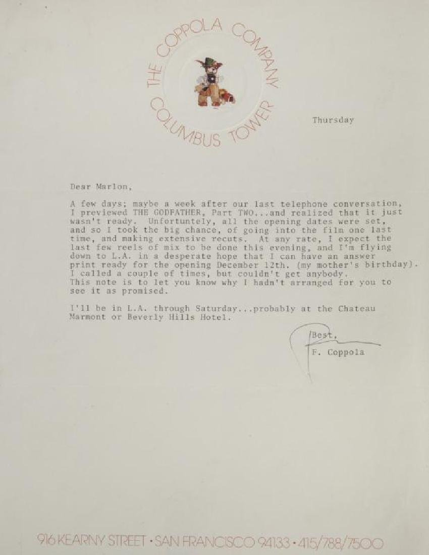 GODFATHER LETTER FROM COPPOLA TO BRANDO