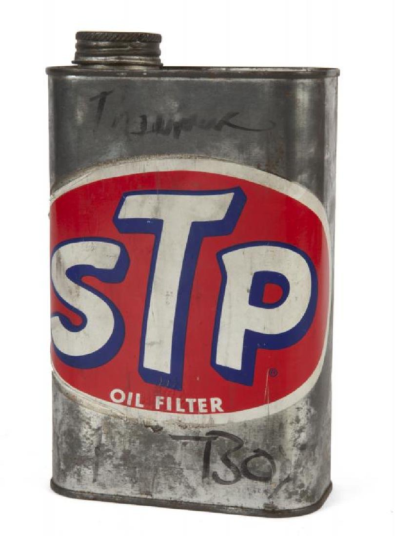 RICHARD PETTY SIGNED STP SIGN WITH VINTAGE STP OIL CAN