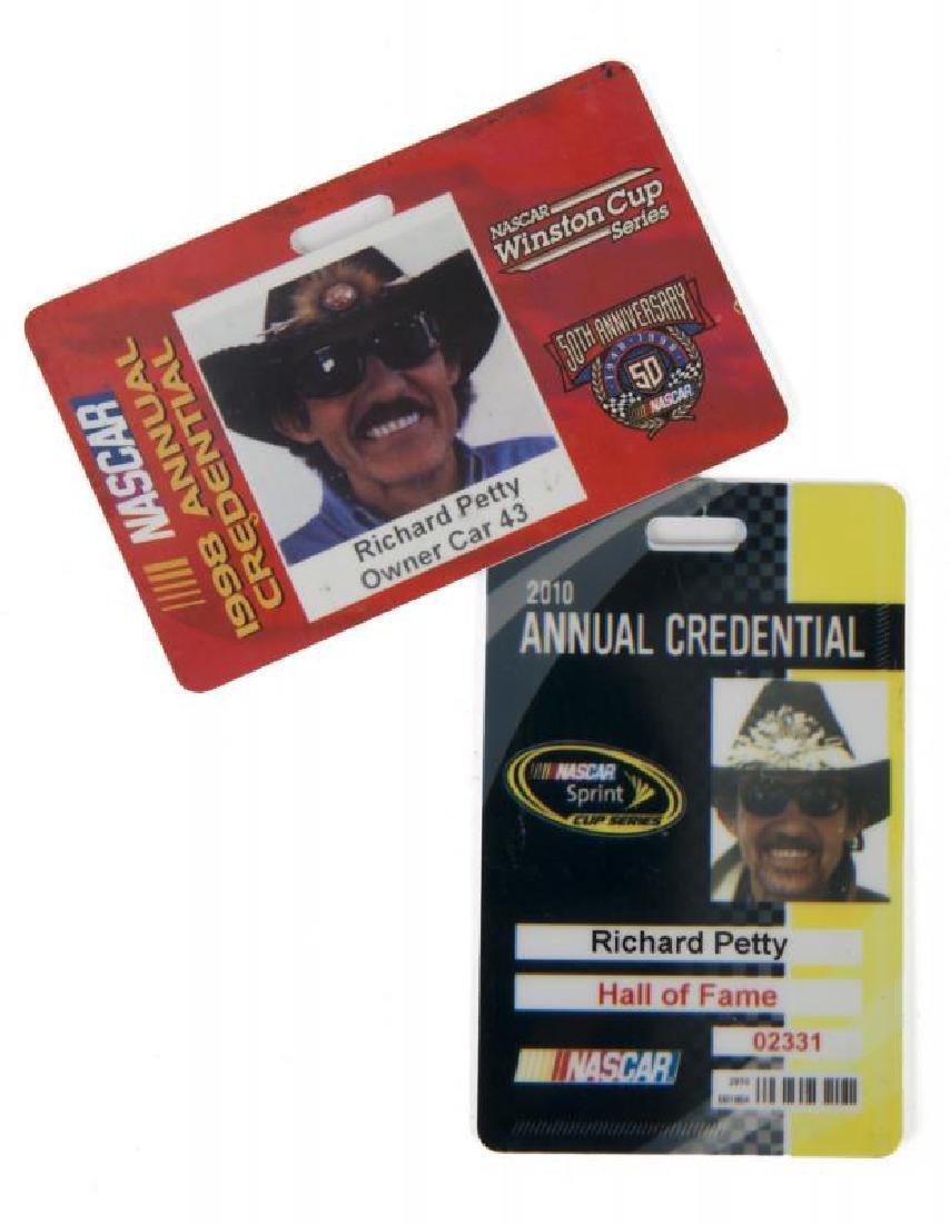 RICHARD PETTY NASCAR ANNUAL CREDENTIALS PAIR