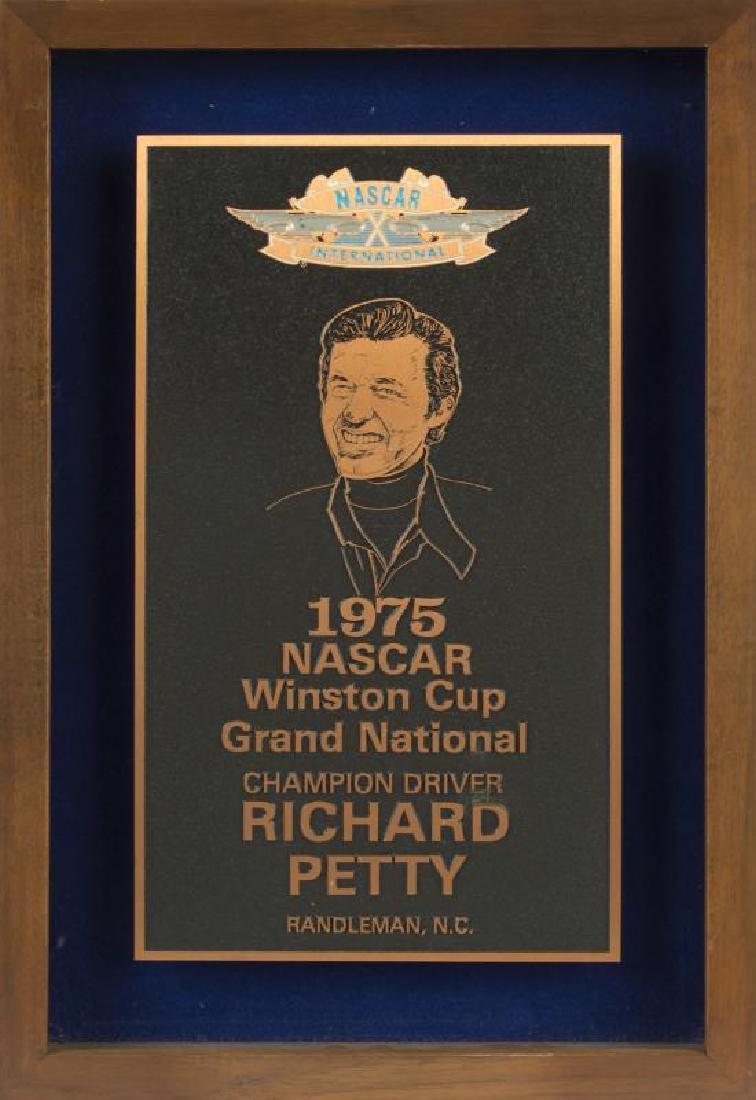 RICHARD PETTY 1975 NASCAR WINSTON CUP AWARD PLAQUE