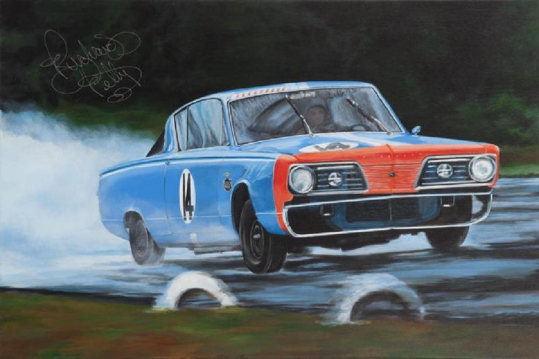 RICHARD PETTY SIGNED PLYMOUTH PAINTING
