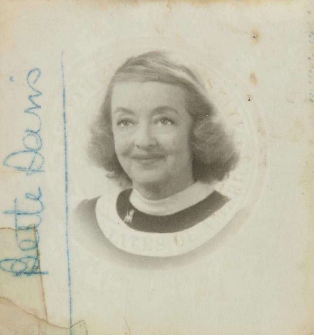 BETTE DAVIS SIGNED PASSPORT PHOTOGRAPH - 2