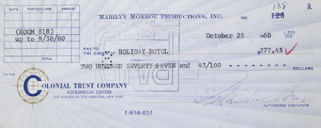 MARILYN MONROE SIGNED CHECK - 2