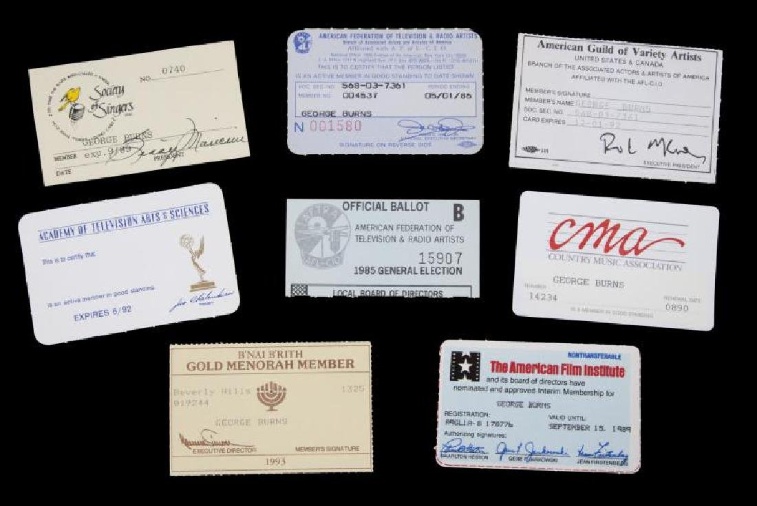 GEORGE BURNS CAREER-RELATED MEMBERSHIP CARDS