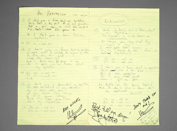 1: Joan Jett Bad Reputation Handwritten Lyrics