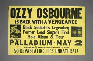 Ozzy Osbourne Blizzard of Oz Original Tour Poster