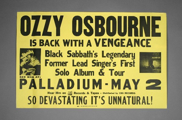 5: Ozzy Osbourne Blizzard of Oz Original Tour Poster