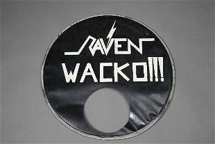 Raven Wacko Signed and Inscribed Vintage Drumhead
