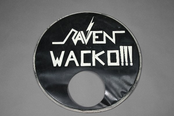 8: Raven Wacko Signed and Inscribed Vintage Drumhead