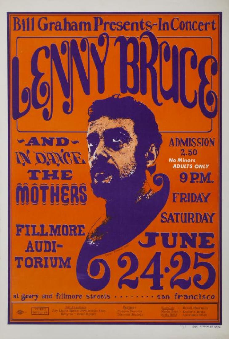 LENNY BRUCE / THE MOTHERS CONCERT POSTER (BILL GRAHAM
