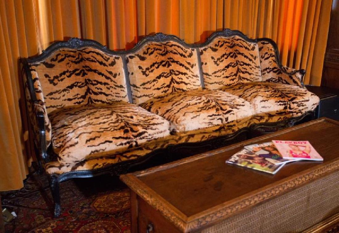 Hugh Hefner Georgian Style Upholstered Tiger Print Sofa Dec 01
