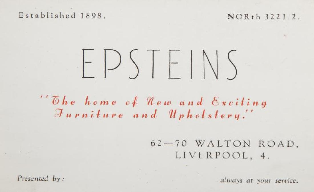 BRIAN EPSTEIN FURNITURE STORE BUSINESS CARD