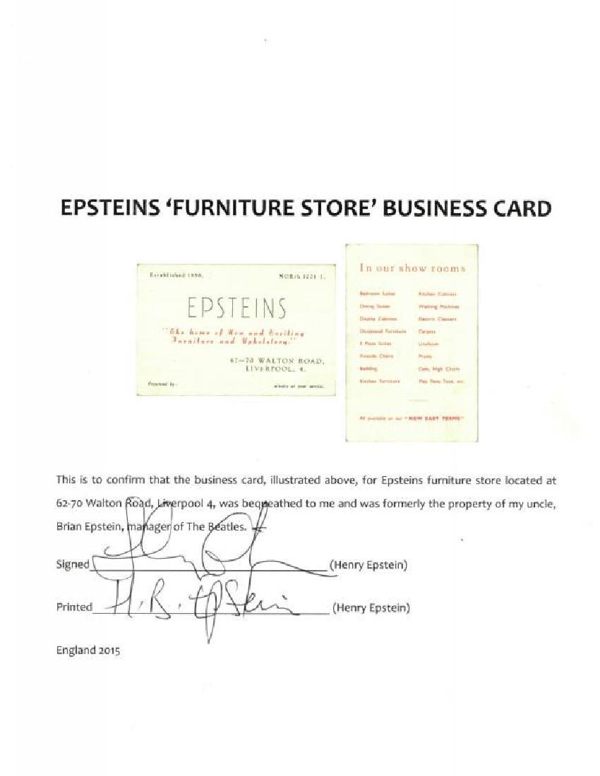 BRIAN EPSTEIN FURNITURE STORE BUSINESS CARD - 2